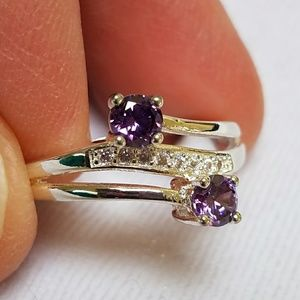 Purple CZ Ring, Silver Plated